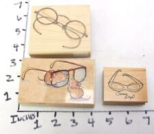 Wooden RUBBER STAMP Block Lot Eye Glasses Sun Glasses Spectacles Sight See