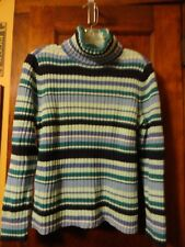 PERFECT!! Women's Cherokee Ribbed Cotton Blues Striped Turtleneck Sweater, MED