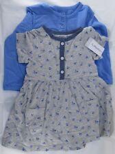 Carter's Baby Girls' 2 Piece Floral Dress Set Cadet Grey Flowers Button-18M