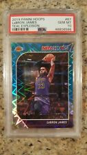2019 Panini NBA Hoops LeBron James Teal Explosion #87 Los Angeles LAKERS PSA 10