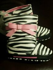 NEW Trimfoot baby girls black white pink zebra with bow boots sz 3  6 - 9 months