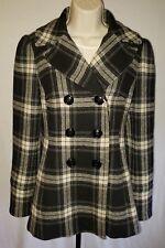 Steve Madden Women's Black Plaid Wool Blend Peacoat Coat - Size Small s - xs