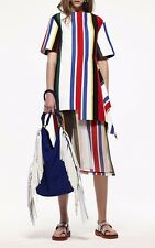 $980 Auth MARNI Black Striped Sheer SILK Skirt w/ Slip Lining Size 38 US 4