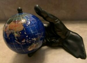 "Precious Stone Hand Crafted Statue w/ 5"" Globe Hand Holding World Statue Black"