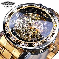 T-Winner Luxury Men's Stainless Steel Diamond Hollow Mechanical Wrist Watches