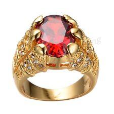 Sz8-12 Womens/Mens 10kt Gold Filled Engagement Rings Ruby Garnet CZ Wedding Ring