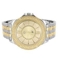 Gold & Silver Two Tone Casual Wrist Watch Big Round Bezel Simulated Diamonds
