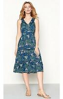 New Debenhams MANTARAY Teal Green Floral Summer Dress Size 8-22