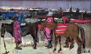 "Original Oil Painting By Sidney Goldblatt (South Africa) ""Mountain Donkeys"""