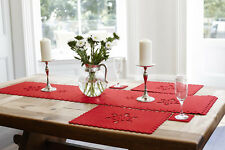 Christmas Red Felt Snowflake Table Place Settings Placemats Coaster Table Runner