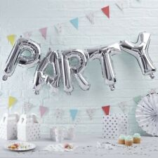 PARTY Balloon Bunting Silver. 14 inch inc 2.5 metre string