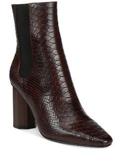 Donald Pliner Laila Dark Brown Snake-Embossed Leather Bootie Boot 7