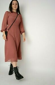 New Mid Pink Swiss Dot Bishop Sleeve Ruffle High NeckLined Midi Dress Size 8-18