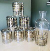 MCM Gold & Silver Bar Set 6 Rocks Glasses 1 Carafe Hollywood Regency SPARKLES!