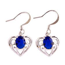 Fashion Jewelry Solitaire Blue Sapphire Gemstone Women Hook Silver Earrings
