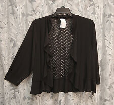 BLACK SLINKY STRETCHY OPEN DRAPE FRONT FITTED CARDIGAN JACKET SWEATER TOP~2X~NEW