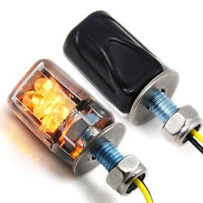 2X 6LED Motorcycle Mini Amber Turn Signal Lights Blinker Indicator Black 12V NEW