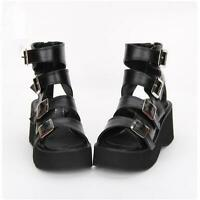 Women Buckle Strap Open Toe Gothic Punk Block Heels Platform Summer Sandals Shoe