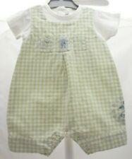 Natalys combishort deux en un à carreaux bleu vert bébé garçon 3 mois