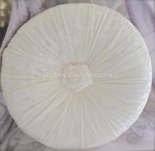 Shabby French Chic Vintage White Velvet Rose Rosette Plush Cushion Toss Pillow