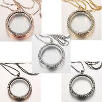 Elegant Living Memory Floating Charm Crystal Glass Round Locket Pendant Necklace