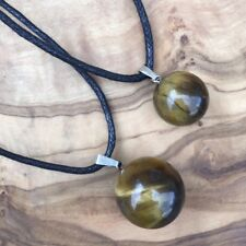 Father Son Tiger's Eye Crystal Ball Sphere Necklace Set Positivity Protection