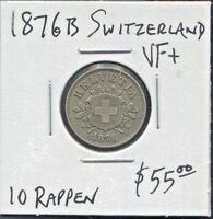 SWITZERLAND - BEAUTIFUL HISTORICAL BILLON 10 RAPPEN, 1876 B, KM# 6