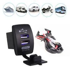 Auto Car Truck Boat Blue LED 12V&24V Dual USB Charger Backlit UTV Rocker Switch