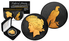 1922 Genuine AU PEACE SILVER DOLLAR Coin 24K Gold & BLACK RUTHENIUM Clad 2-Sided