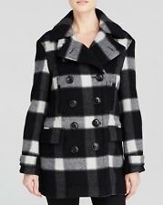 NWT Burberry Brit Weltford Plaid Pea Coat Black and White $1395 – US 12