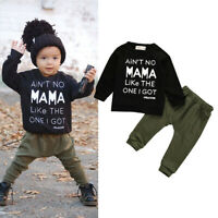 US Newborn Toddler Baby Boy Autumn Winter Clothes Shirt Tops+Pants Outfits Set