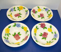 Rose Fantasy 4 Soup Cereal Bowls Pink Blue Yellow Roses by Tabletops Unlimited