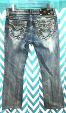 Miss Me -Size 30- Women's Blue Embellished Low Jeans Boot Cut Distressed