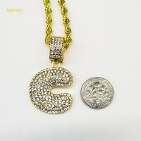 "C Initial Custom Bubble Letter Gold Plated Iced CZ Pendant 24"" Chain Necklace"