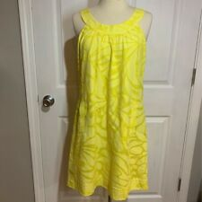 J Crew Womens A Line Dress Yellow Abstract Grecian Neck Back Zip Lined Pockets 8