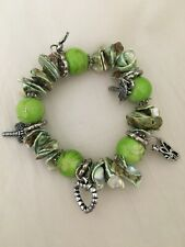 Charm Bracelet Heart, Dragonfly, Butterfly Lime Green, Silver, Pale Green Chunky