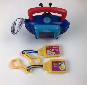 Vintage 2002 Tiger Disney Kid Clips Music Player 2 Princess Cartridges Boombox