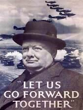 Propaganda di Guerra Churchill andare avanti secondo mondo UK Vintage Poster Stampa 1092py