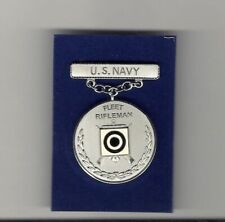 New listing Us Navy Fleet Rifleman Shot Shooting medal badge in silver