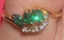 Genuine 3 Marquise shaped Emerald 14k solid Yellow Gold ring with 6 Diamonds.