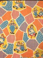 Raggedy Ann Andy TWIN SHEET SET Fitted FLAT one Pillow Case Bobbs Merrill Co.