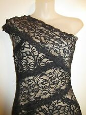 bebe M Mixed Lace Dress Black Nude Lining Bodycon One Shoulder Cocktail Party