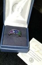Bradford Exchange Sterling Silver amethyst sapphire emerald cluster Ring NIB