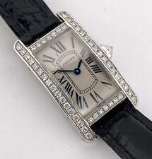 Cartier Tank Americaine Solid 18k White Gold Factory Diamond Bezel WJTA0003 2601