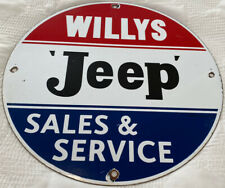 VINTAGE JEEP SALES & SERVICE PORCELAIN SIGN WILLY'S WAR GAS OIL PUMP PLATE RARE