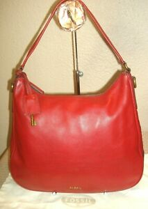 Fossil Gorgeous Dark Red Soft Pebbled Leather Hobo Shoulder Bag Nice Condition!