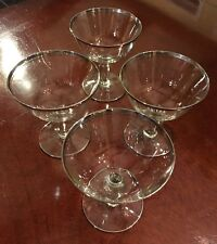 Vintage Mid Century Double Silver Lined Rim Set Of 4 Champaign Glasses!!
