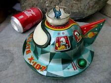 VINTAGE RARE TIN TOY SPACE FLYING SAUCER JAPAN MODERN TOYS SATELLITE X-107