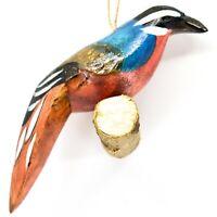 Hand Carved Painted Jacaranda Wood Colorful Tropical Bird Holiday Ornament Kenya