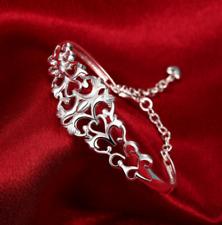 Womens 925 Sterling Silver Hollow Flower Chain Cuff Open Bangle Bracelet #B468